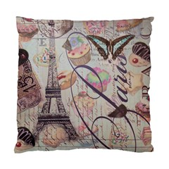 French Pastry Vintage Scripts Floral Scripts Butterfly Eiffel Tower Vintage Paris Fashion Cushion Case (two Sided)  by chicelegantboutique