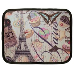 French Pastry Vintage Scripts Floral Scripts Butterfly Eiffel Tower Vintage Paris Fashion Netbook Case (XL)