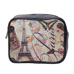 French Pastry Vintage Scripts Floral Scripts Butterfly Eiffel Tower Vintage Paris Fashion Mini Travel Toiletry Bag (two Sides) by chicelegantboutique