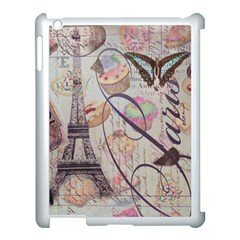 French Pastry Vintage Scripts Floral Scripts Butterfly Eiffel Tower Vintage Paris Fashion Apple Ipad 3/4 Case (white) by chicelegantboutique