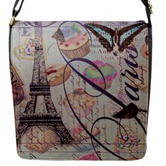 French Pastry Vintage Scripts Floral Scripts Butterfly Eiffel Tower Vintage Paris Fashion Flap Closure Messenger Bag (small) by chicelegantboutique