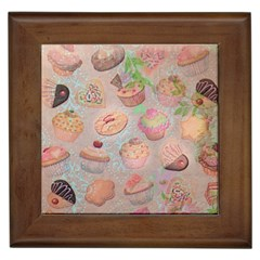 French Pastry Vintage Scripts Cookies Cupcakes Vintage Paris Fashion Framed Ceramic Tile by chicelegantboutique
