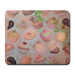 French Pastry Vintage Scripts Cookies Cupcakes Vintage Paris Fashion Large Mouse Pad (rectangle) by chicelegantboutique