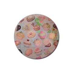 French Pastry Vintage Scripts Cookies Cupcakes Vintage Paris Fashion Drink Coaster (round) by chicelegantboutique