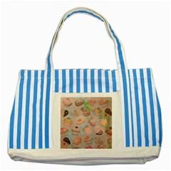 French Pastry Vintage Scripts Cookies Cupcakes Vintage Paris Fashion Blue Striped Tote Bag by chicelegantboutique