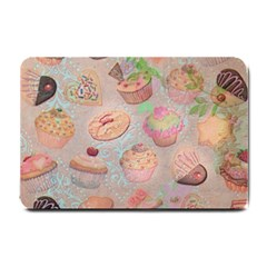 French Pastry Vintage Scripts Cookies Cupcakes Vintage Paris Fashion Small Door Mat by chicelegantboutique