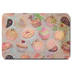 French Pastry Vintage Scripts Cookies Cupcakes Vintage Paris Fashion Large Door Mat by chicelegantboutique