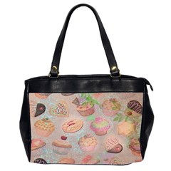 French Pastry Vintage Scripts Cookies Cupcakes Vintage Paris Fashion Oversize Office Handbag (Two Sides) by chicelegantboutique