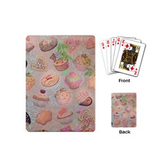 French Pastry Vintage Scripts Cookies Cupcakes Vintage Paris Fashion Playing Cards (mini) by chicelegantboutique