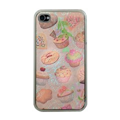 French Pastry Vintage Scripts Cookies Cupcakes Vintage Paris Fashion Apple Iphone 4 Case (clear) by chicelegantboutique