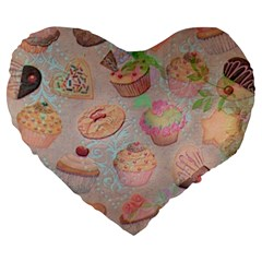 French Pastry Vintage Scripts Cookies Cupcakes Vintage Paris Fashion 19  Premium Heart Shape Cushion by chicelegantboutique