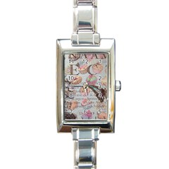 French Pastry Vintage Scripts Floral Scripts Butterfly Eiffel Tower Vintage Paris Fashion Rectangular Italian Charm Watch by chicelegantboutique