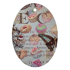 French Pastry Vintage Scripts Floral Scripts Butterfly Eiffel Tower Vintage Paris Fashion Oval Ornament by chicelegantboutique
