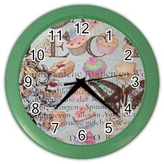 French Pastry Vintage Scripts Floral Scripts Butterfly Eiffel Tower Vintage Paris Fashion Wall Clock (color) by chicelegantboutique