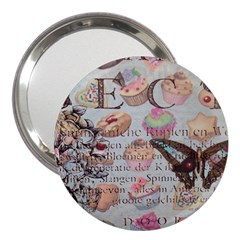 French Pastry Vintage Scripts Floral Scripts Butterfly Eiffel Tower Vintage Paris Fashion 3  Handbag Mirror