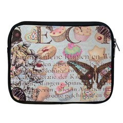 French Pastry Vintage Scripts Floral Scripts Butterfly Eiffel Tower Vintage Paris Fashion Apple Ipad 2/3/4 Zipper Case by chicelegantboutique