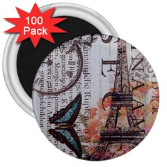 Vintage Clock Blue Butterfly Paris Eiffel Tower Fashion 3  Button Magnet (100 Pack) by chicelegantboutique