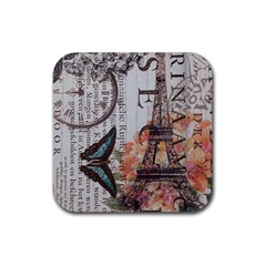 Vintage Clock Blue Butterfly Paris Eiffel Tower Fashion Drink Coaster (Square) by chicelegantboutique