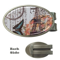 Vintage Clock Blue Butterfly Paris Eiffel Tower Fashion Money Clip (oval) by chicelegantboutique