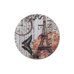 Vintage Clock Blue Butterfly Paris Eiffel Tower Fashion Magnet 3  (round) by chicelegantboutique
