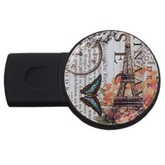 Vintage Clock Blue Butterfly Paris Eiffel Tower Fashion 2gb Usb Flash Drive (round) by chicelegantboutique