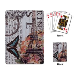 Vintage Clock Blue Butterfly Paris Eiffel Tower Fashion Playing Cards Single Design by chicelegantboutique