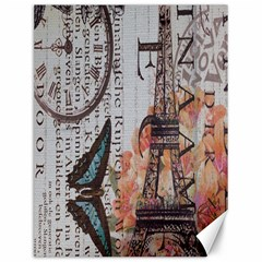 Vintage Clock Blue Butterfly Paris Eiffel Tower Fashion Canvas 12  X 16  (unframed)