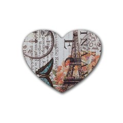 Vintage Clock Blue Butterfly Paris Eiffel Tower Fashion Drink Coasters (heart) by chicelegantboutique