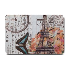 Vintage Clock Blue Butterfly Paris Eiffel Tower Fashion Small Door Mat by chicelegantboutique
