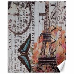 Vintage Clock Blue Butterfly Paris Eiffel Tower Fashion Canvas 11  x 14  (Unframed) by chicelegantboutique
