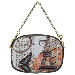 Vintage Clock Blue Butterfly Paris Eiffel Tower Fashion Chain Purse (two Sided)  by chicelegantboutique