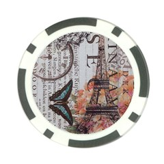 Vintage Clock Blue Butterfly Paris Eiffel Tower Fashion Poker Chip 10 Pack by chicelegantboutique