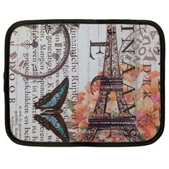 Vintage Clock Blue Butterfly Paris Eiffel Tower Fashion Netbook Case (xl) by chicelegantboutique