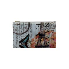 Vintage Clock Blue Butterfly Paris Eiffel Tower Fashion Cosmetic Bag (small) by chicelegantboutique