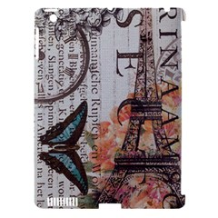 Vintage Clock Blue Butterfly Paris Eiffel Tower Fashion Apple Ipad 3/4 Hardshell Case (compatible With Smart Cover) by chicelegantboutique