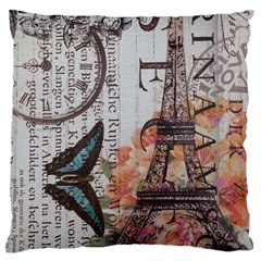 Vintage Clock Blue Butterfly Paris Eiffel Tower Fashion Large Cushion Case (two Sided)  by chicelegantboutique