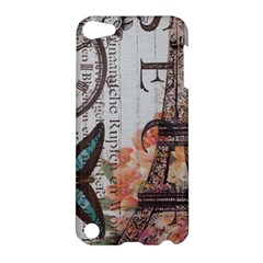 Vintage Clock Blue Butterfly Paris Eiffel Tower Fashion Apple Ipod Touch 5 Hardshell Case by chicelegantboutique