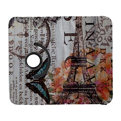 Vintage Clock Blue Butterfly Paris Eiffel Tower Fashion Samsung Galaxy S  Iii Flip 360 Case by chicelegantboutique