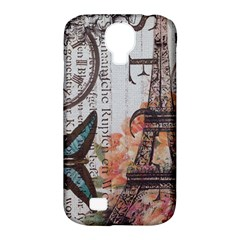 Vintage Clock Blue Butterfly Paris Eiffel Tower Fashion Samsung Galaxy S4 Classic Hardshell Case (pc+silicone) by chicelegantboutique