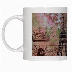 Girly Bee Crown  Butterfly Paris Eiffel Tower Fashion White Coffee Mug by chicelegantboutique