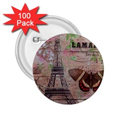 Girly Bee Crown  Butterfly Paris Eiffel Tower Fashion 2 25  Button (100 Pack) by chicelegantboutique