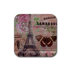 Girly Bee Crown  Butterfly Paris Eiffel Tower Fashion Drink Coaster (square) by chicelegantboutique