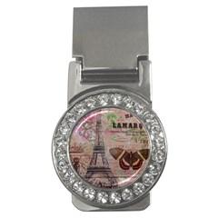Girly Bee Crown  Butterfly Paris Eiffel Tower Fashion Money Clip (cz)