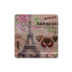 Girly Bee Crown  Butterfly Paris Eiffel Tower Fashion Magnet (square) by chicelegantboutique