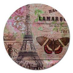 Girly Bee Crown  Butterfly Paris Eiffel Tower Fashion Magnet 5  (round) by chicelegantboutique