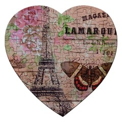 Girly Bee Crown  Butterfly Paris Eiffel Tower Fashion Jigsaw Puzzle (heart) by chicelegantboutique