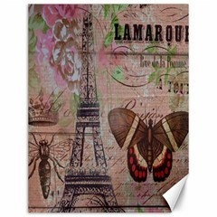 Girly Bee Crown  Butterfly Paris Eiffel Tower Fashion Canvas 12  X 16  (unframed) by chicelegantboutique