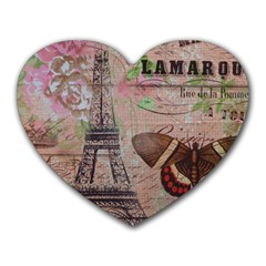 Girly Bee Crown  Butterfly Paris Eiffel Tower Fashion Mouse Pad (heart) by chicelegantboutique