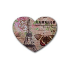 Girly Bee Crown  Butterfly Paris Eiffel Tower Fashion Drink Coasters (heart) by chicelegantboutique