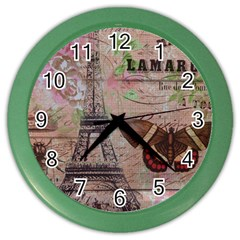 Girly Bee Crown  Butterfly Paris Eiffel Tower Fashion Wall Clock (color) by chicelegantboutique